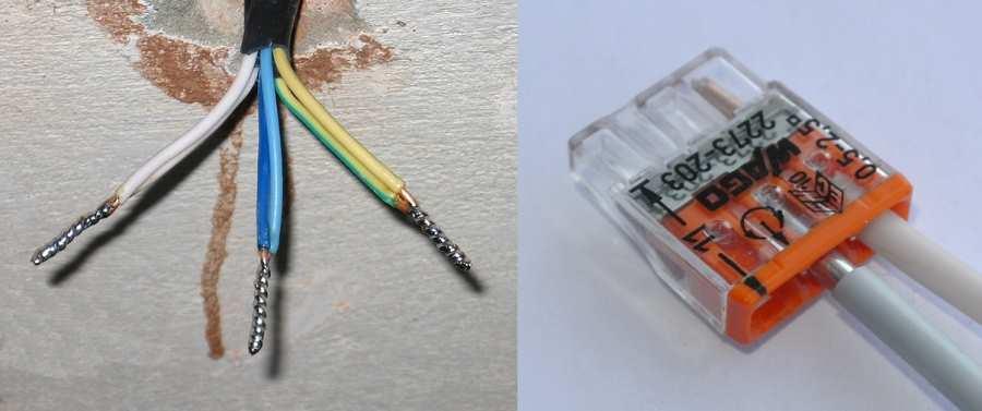Пайка медных проводов и соединение алюминиевых через клеммники Wago