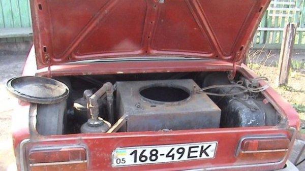 Образец газогенератора на базе автомобиля ВАЗ.