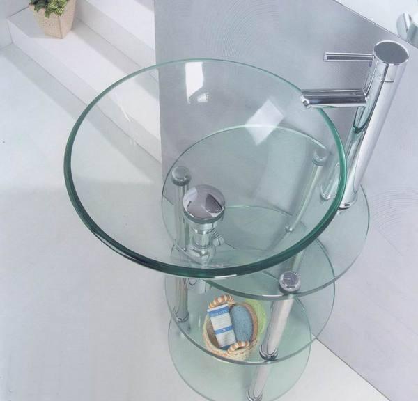 Стеклянная раковина для ванной комнаты круглая