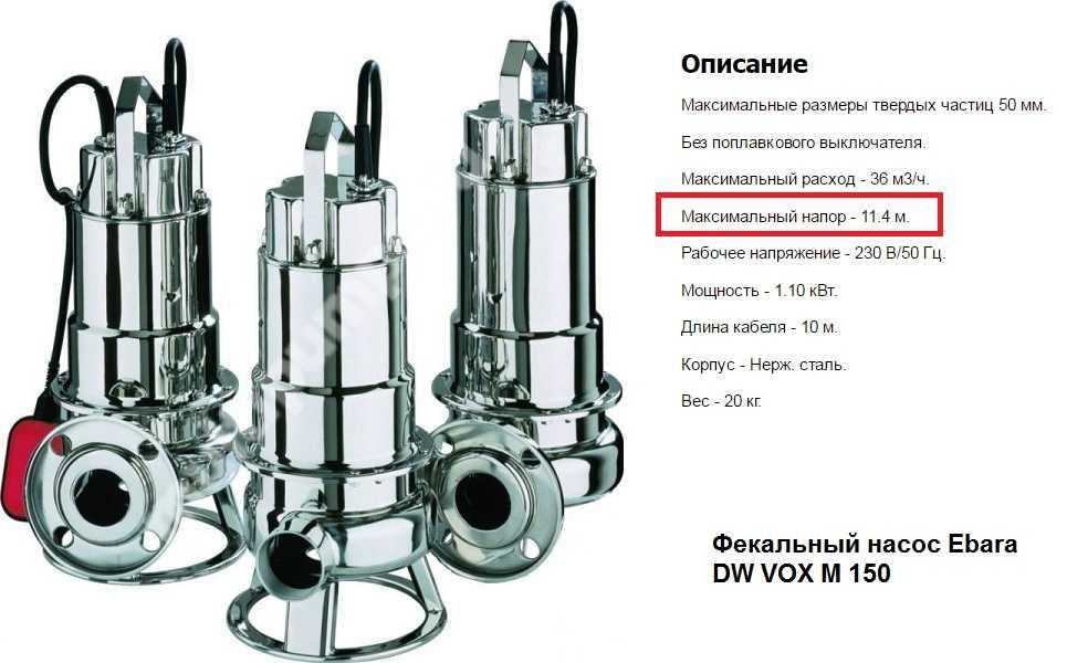 Пример технических характеристик фекального насоса для откачки канализации