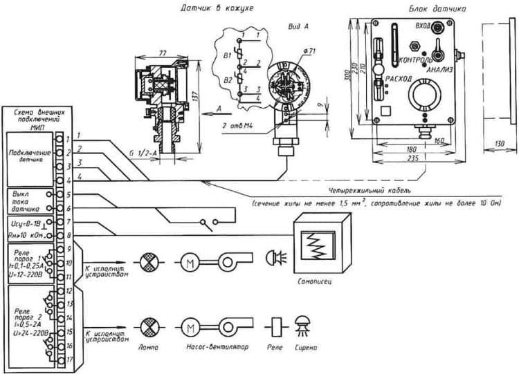 Монтажная схема стационарного сигнализатора горючих газов