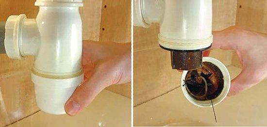 Прочистка сифона, устанлвоенного под раковиной