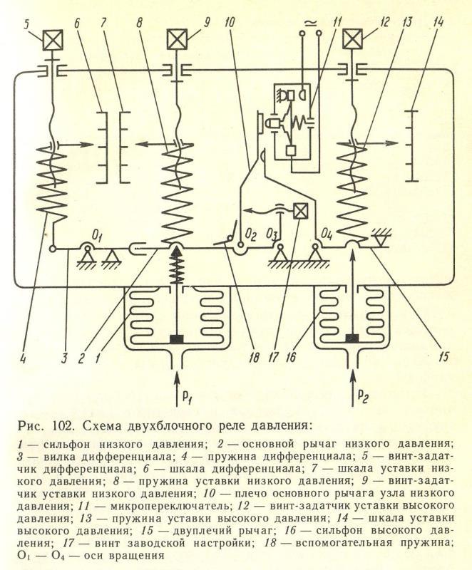 Схема двухблочного реле давления