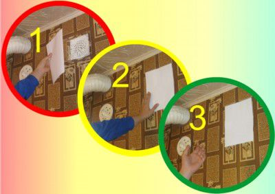Проверка вентиляции с помощью листа бумаги