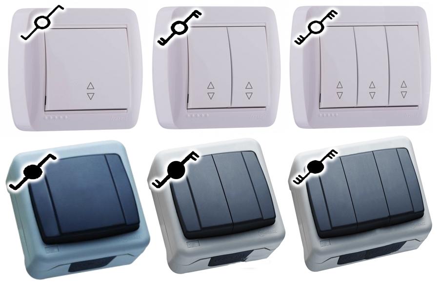 Обозначения проходных выключателей – стандартных и влагозащищенных