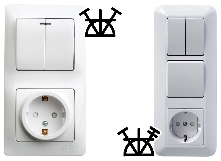 Блоки с одно и двухклавишными выключателями и заземлением
