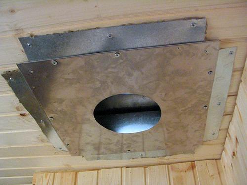 Для перехода трубы через крышу нужно заранее подготовить патрубок и широкую пластину из стали, стойкую к образованию коррозии.