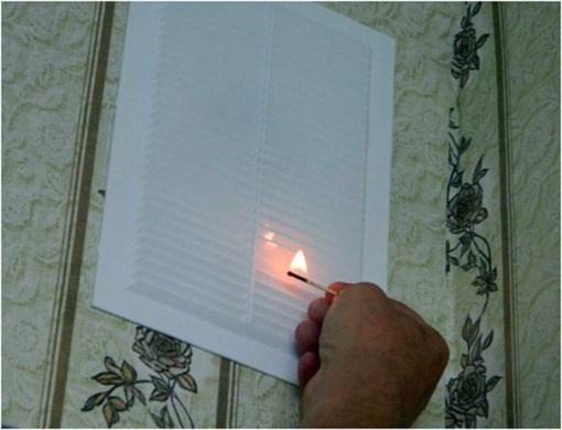 проверка наличия тяги в системе вентиляции