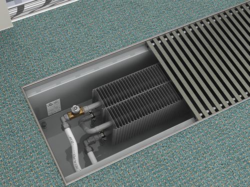 Внутрипольный конвектор отопления водяной