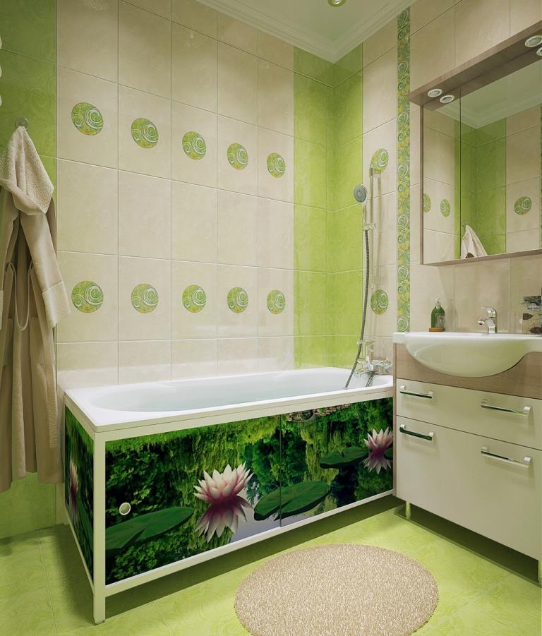 Зеленый экран под ванну