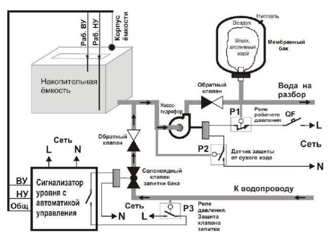 Индикатор потока жидкости. Схема подключения