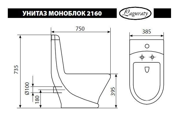 Габариты и технические размеры моноблочного изделия стандартного типа