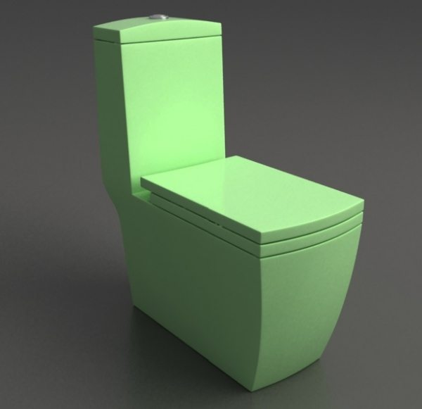 Конструкция зеленого цвета с угловатыми формами и большой чашей
