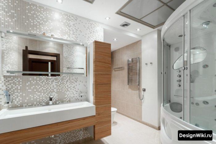 Дизайн душевой кабины с ванной