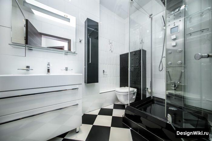 Дорогой дизайн душевой кабины в ванной комнате