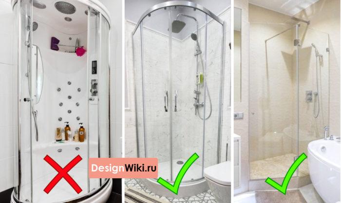 Дизайн ванной комнаты с душевой кабиной #ремонт #ваннаякомната