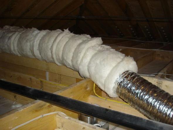 Утепление воздуховода на чердаке