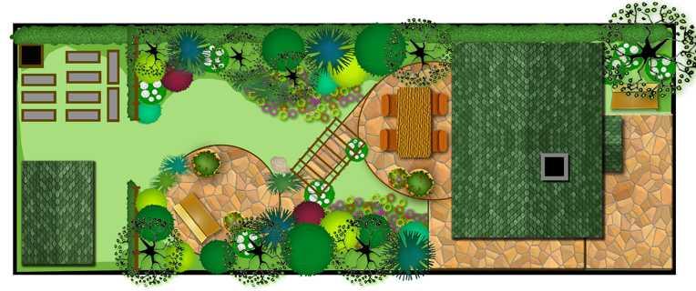 Прямоугольный участок : план ландашафтного дизайна