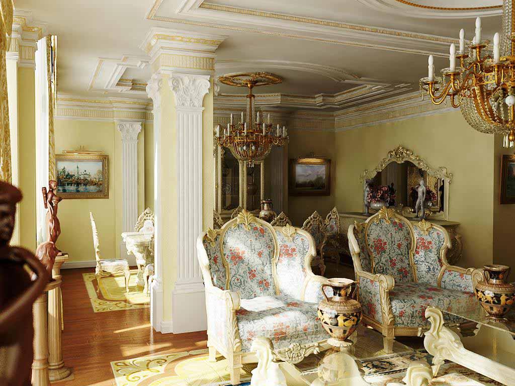 Гостиная в стиле барокко с правильно подобранным освещением