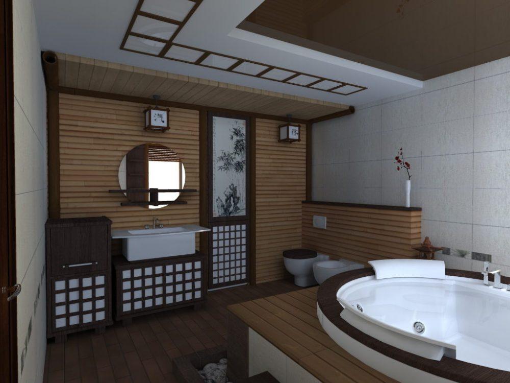 Декор ванной комнаты стилизация под классический японский стиль