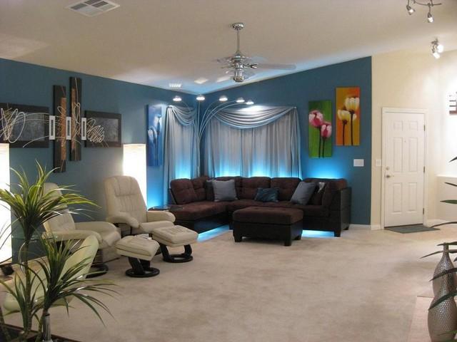 Декоративное освещение гостиной комнаты