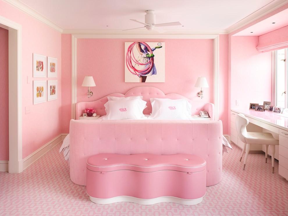 Современная розовая спальня для двоих