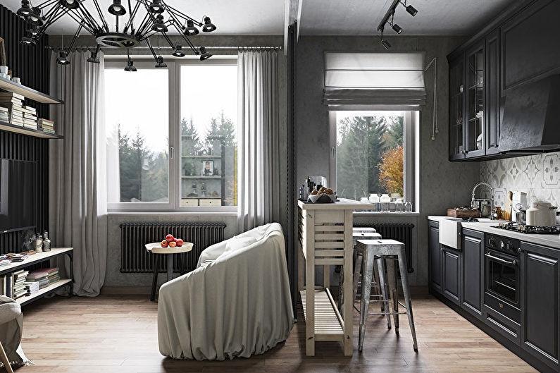Дизайн интерьера маленькой кухни-гостиной - фото
