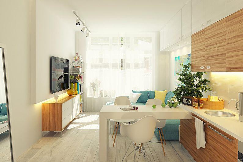 Дизайн интерьера кухни-гостиной в скандинавском стиле - фото
