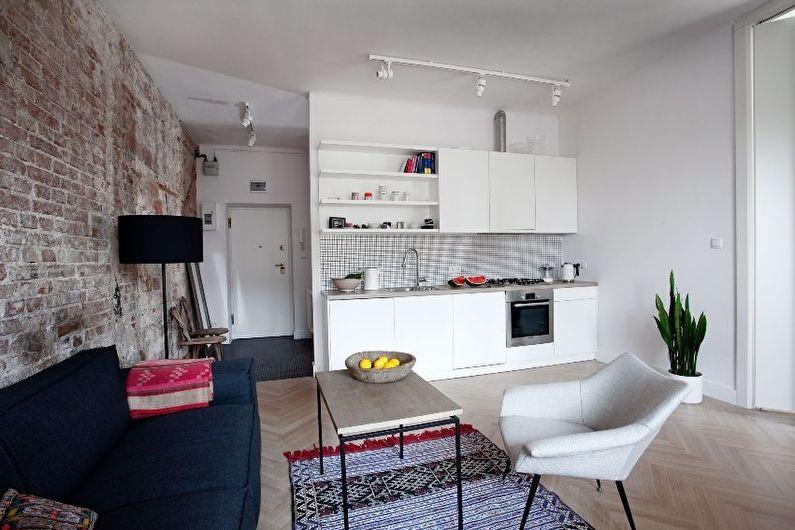 Дизайн интерьера кухни-гостиной в маленькой квартире - фото