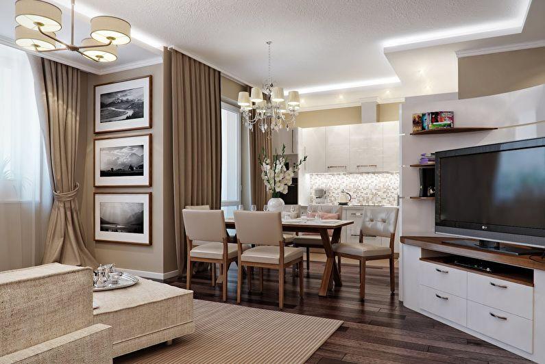 Дизайн интерьера кухни, совмещенной с гостиной - фото