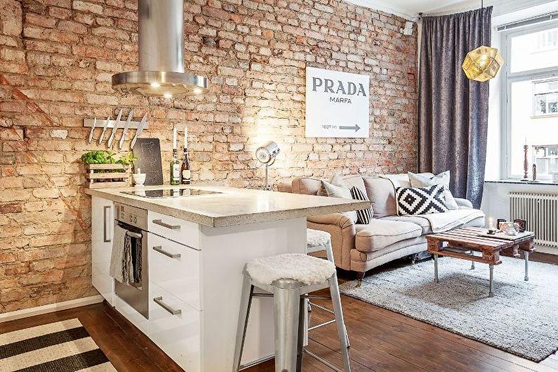 Дизайн интерьера кухни-гостиной в стиле лофт - фото