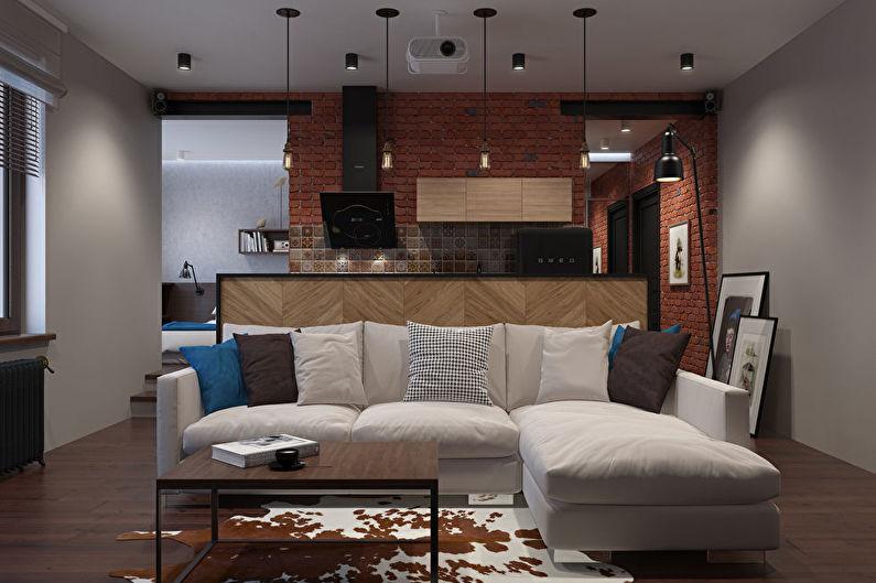 Дизайн интерьера маленькой кухни-гостиной в стиле лофт - фото