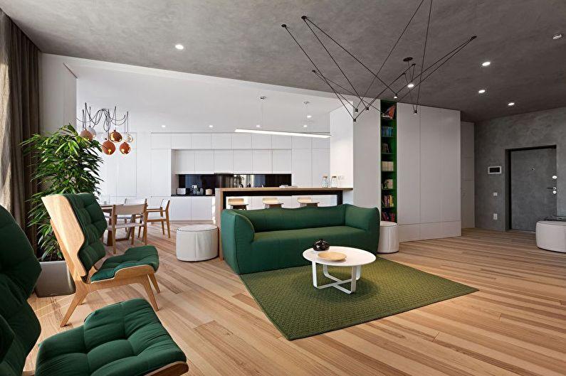 Дизайн интерьера кухни-гостиной в стиле минимализм - фото
