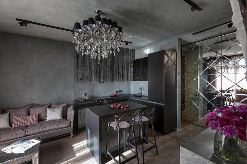 Дизайн интерьера кухни, совмещенной с гостиной, в стиле ар-деко - фото