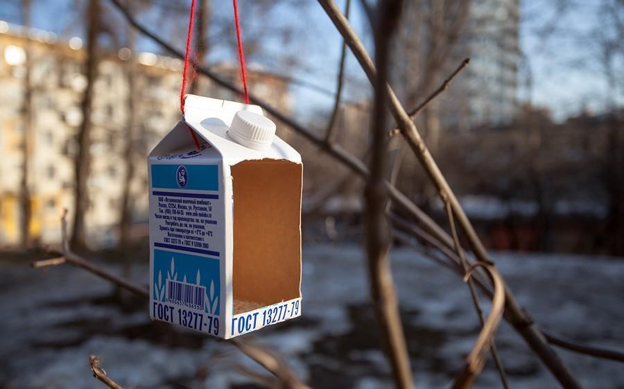 Кормушка из молочного пакета