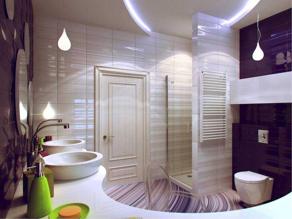 красивый дизайн душевой комнаты