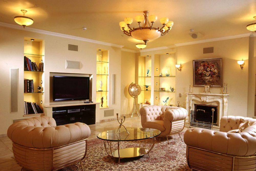 Вариант освещения гостиной в классическом стиле
