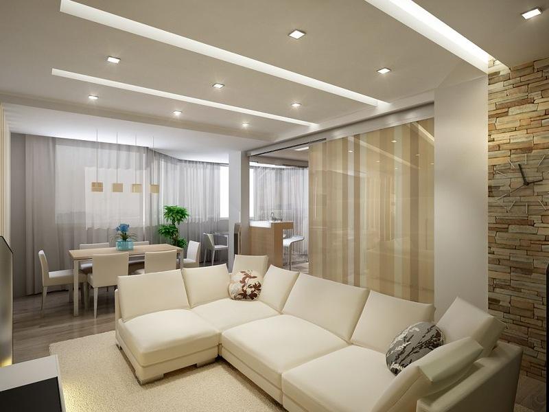 Реализация общего освещения в гостиной за счет точечных светильников