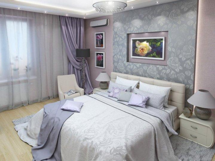 Красивая спальня в серо-розовых тонах