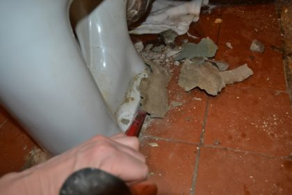 Пример удаления цементной замазки