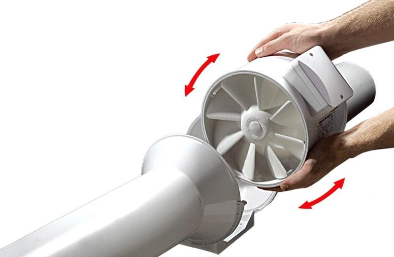 Установка вентилятора между воздуховодами