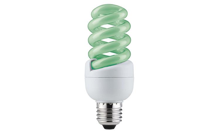 Энергосберегающие лампы с зелёным оттенком смотрятся довольно интересно