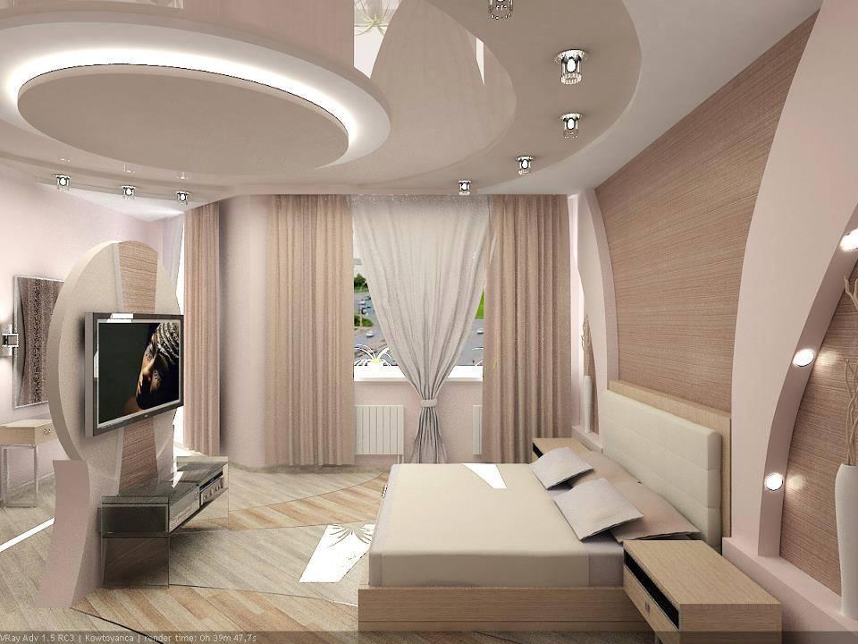 фото Ремонт спальни: натяжной потолок