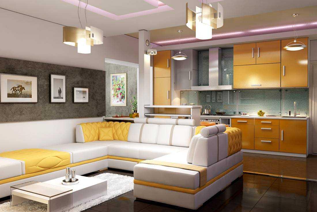 светлый дизайн гостиной кухни