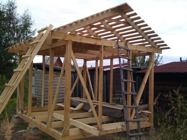 Двускатная крыша хозблока
