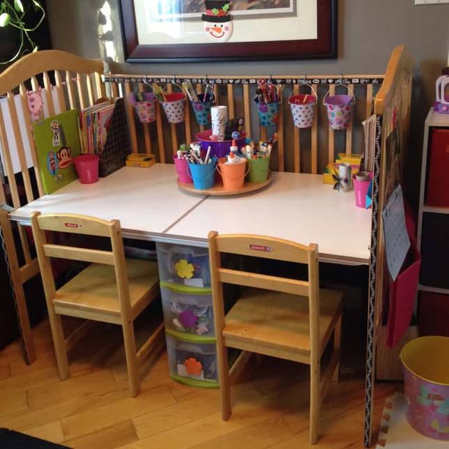 Что можно сделать из старой детской кроватки: письменный детский столик, скамейка, полка из детской кровати своими руками