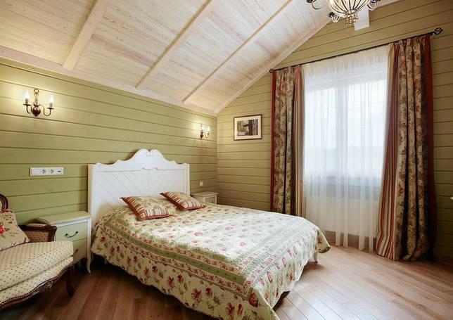Фисташковый в интерьере спальни в стиле кантри