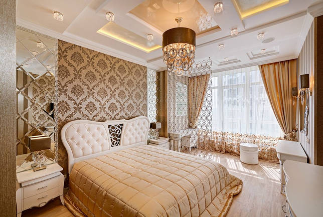 Освещение в интерьере спальни для взрослых