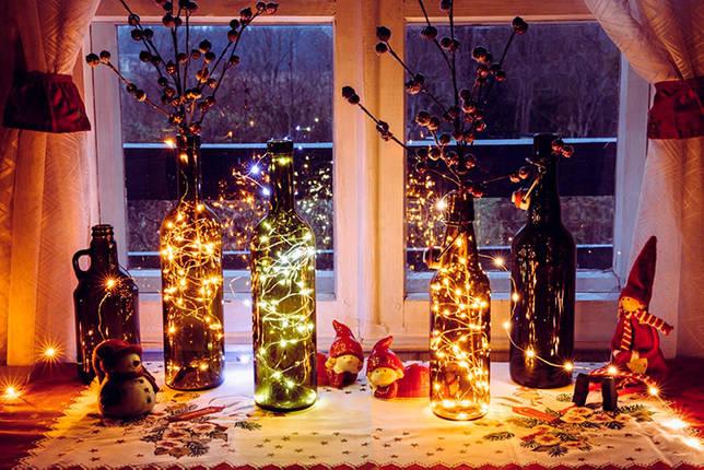 Декоративные светящиеся бутылки