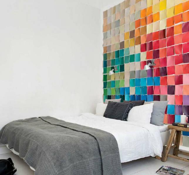 Как украсить изголовье кровати тканью пэчворк